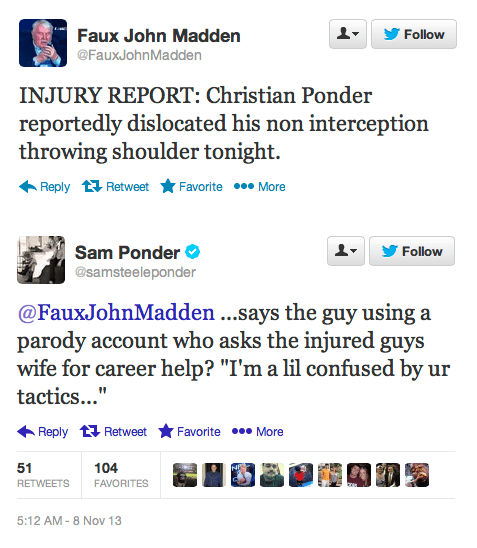 Christian Ponder's Wife Picks a Fight With a Fake John Madden Twitter Account