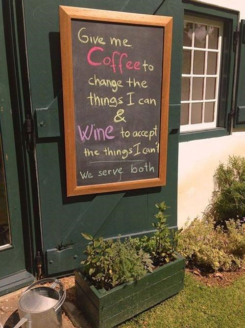 Witty Coffee Shop Sign of the Day: Wine and Coffee is the Answer to Life