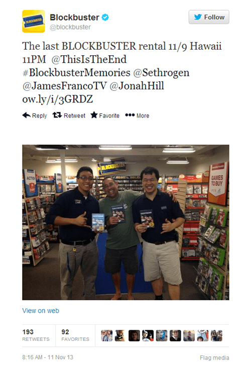 Hashtag of the Day: Very Last Blockbuster Rental is a Fitting Choice