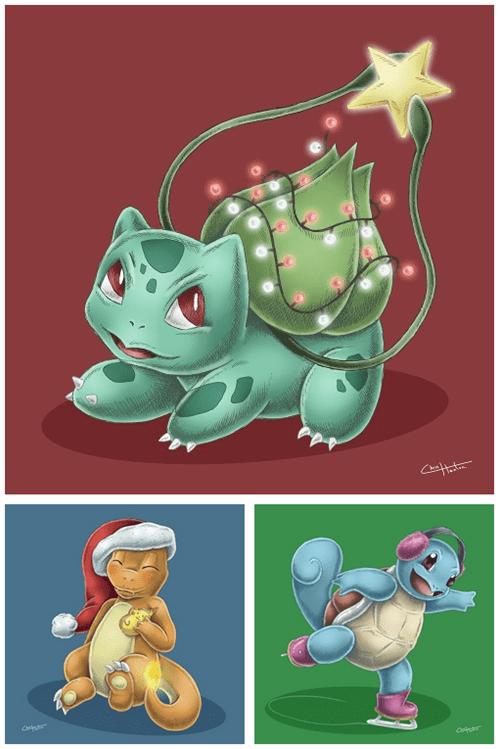 christmas,Pokémon,starters,kanto