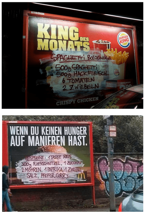 German Graffiti Artists Replace These Fast Food Ads With Recipes