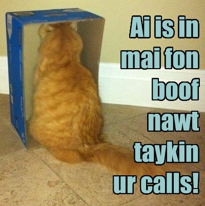Ai is in mai fon boof nawt taykin  ur calls!