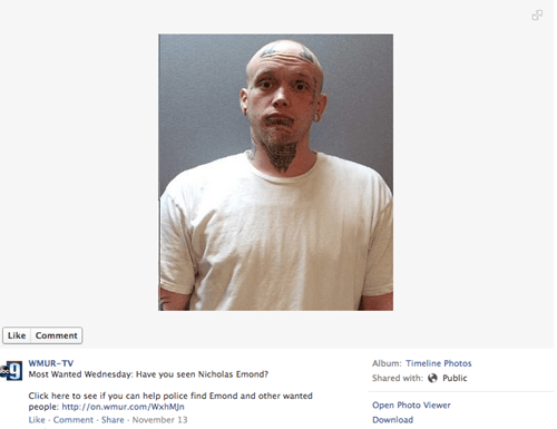 Internet Rant of the Day: Fugitive Lets Loose on his Facebook Most Wanted Photo