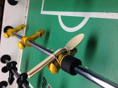 foosball,there I fixed it,rubber bands,spoons