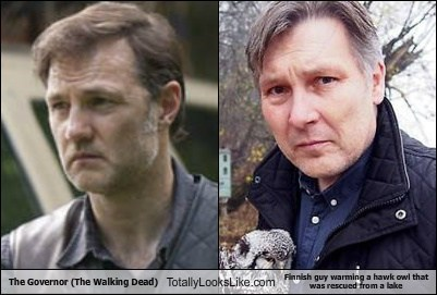 The Governor Totally Looks Like Finnish Guy Warming a Hawk Owl