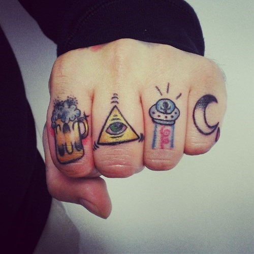 beer,Aliens,illuminati,funny,tattoos,knuckle tatts