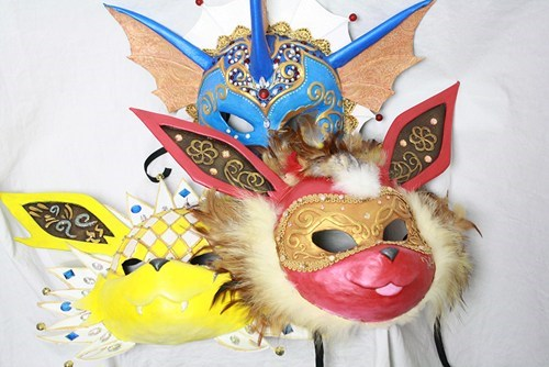 Classic Eevee-lutions realized as Venetian Carnival Masks
