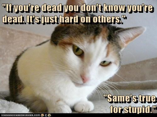 """""""If you're dead you don't know you're dead. It's just hard on others.""""  """"Same's true                                                   for stupid."""""""