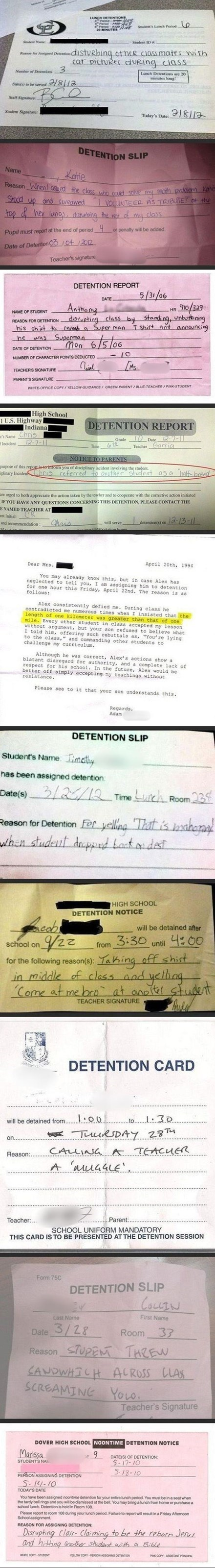 Amazing Reasons to Get Detention