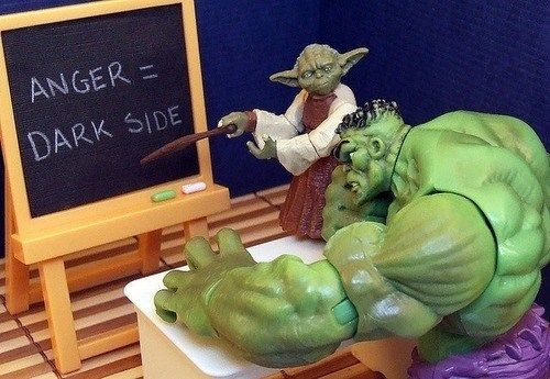 the hulk,anger,yoda