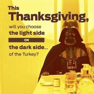 dark meat,the force,thanksgiving,dark side,white meat,darth vader