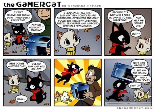 PlayStation 4,Cats,funny,web comics