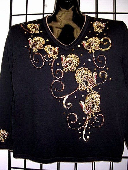 """Nothing Says """"Thankful Grandma"""" Like This Gold Embroidered Turkey Sweater"""