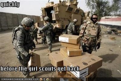 quickly  before the girl scouts get back