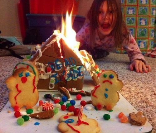 christmas,fire,holidays,gingerbread house