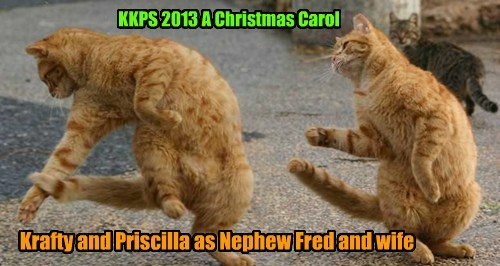Krafty Katt an' his sweetie Priscilla Pringle are perfect for the parts of Scrooge's nephew Fred an' his wife.. Here they ar dancin' at Fred's Christmas Party!