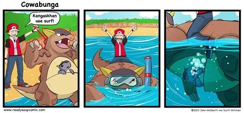kangaskhan,Pokémon,surf,web comics