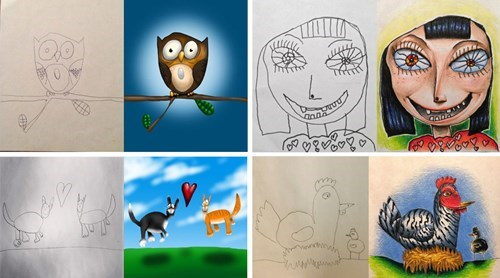 Artsy Fart of the Day: Dad Fills in Pencil Drawings From His Kids
