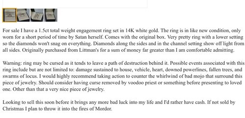 Poor Guy Tries to Sell His Unwanted Engagement Ring
