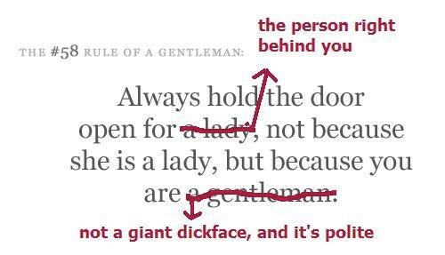 The Difference Between Being a Gentleman and Being a Not-Jerk