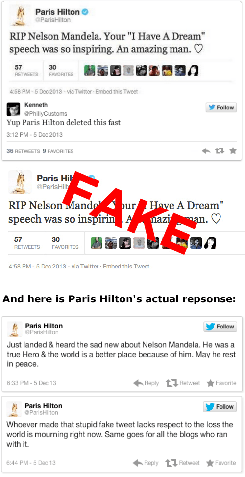 Tweet of the Day: Paris Hilton'sTweet About Nelson Mandela's Death is Fake