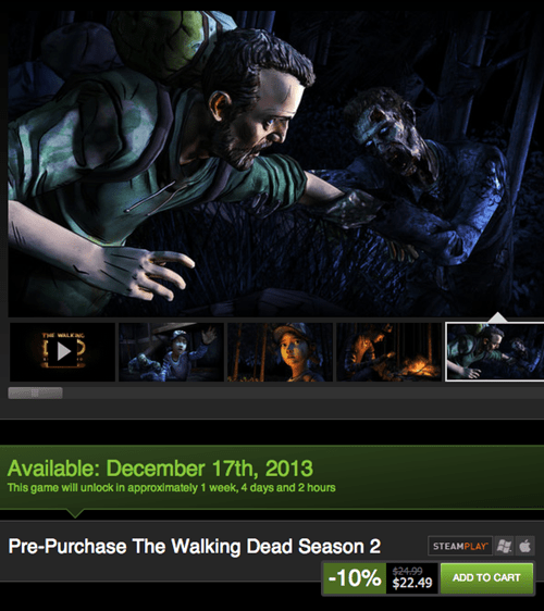 Steam Lists December 17th as Release Date for TWD Season 2