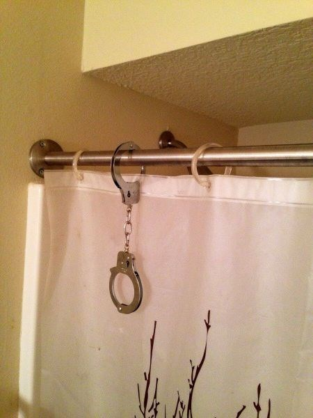 handcuffs,there I fixed it,shower curtains