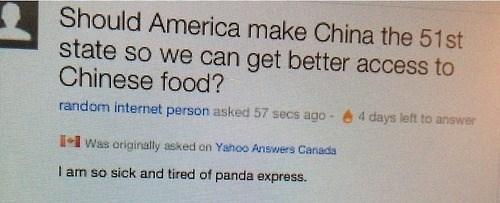 america,Canada,chinese food,yahoo answers