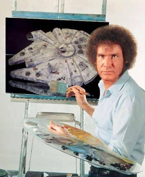 bob ross,Han Solo,Millenium Falcon
