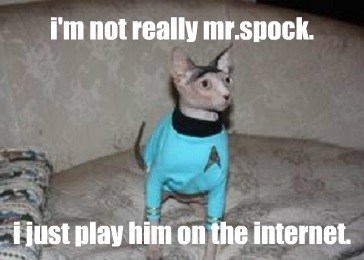 i'm not really mr.spock.      i just play him on the internet.