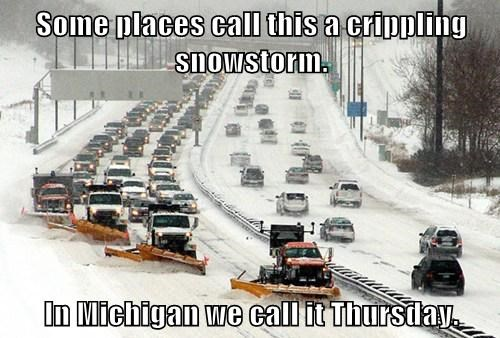 Some places call this a crippling snowstorm.  In Michigan we call it Thursday.