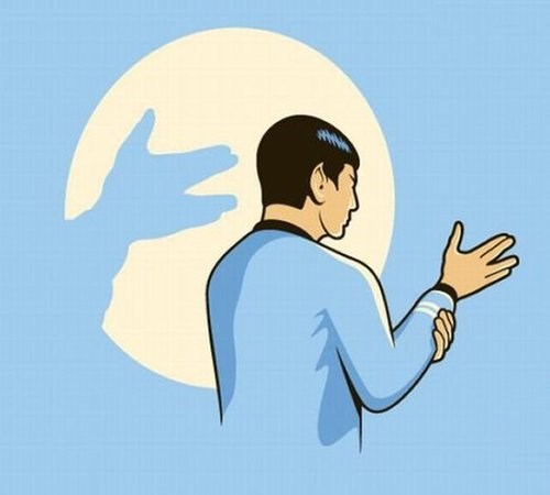 Spock shadow puppets