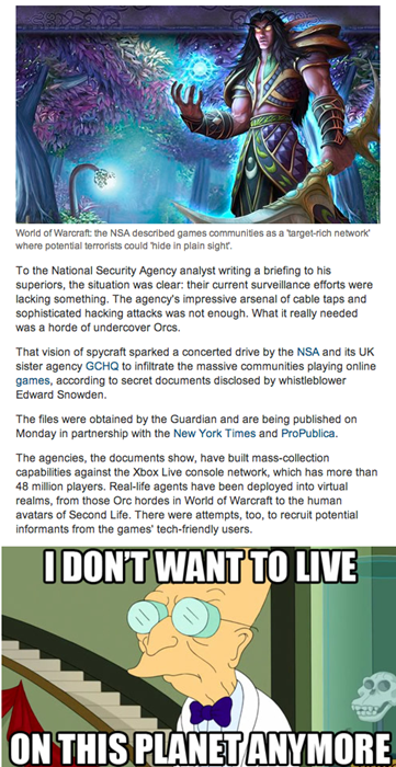 The NSA is in Your Games, Watching Your Raids
