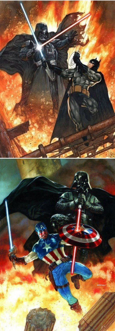 Darth Vader Batman Captain America lightsabers nerd fandom