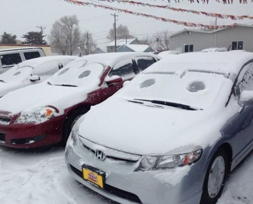 Cars snow faces