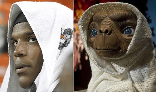 cam newton,ET,totally looks like