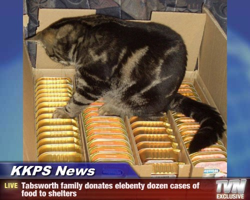KKPS News - Tabsworth family donates elebenty dozen cases of food to shelters