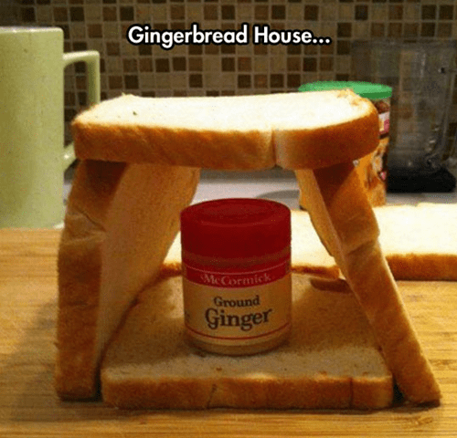 bread,gingerbread house,christmas,ginger,puns
