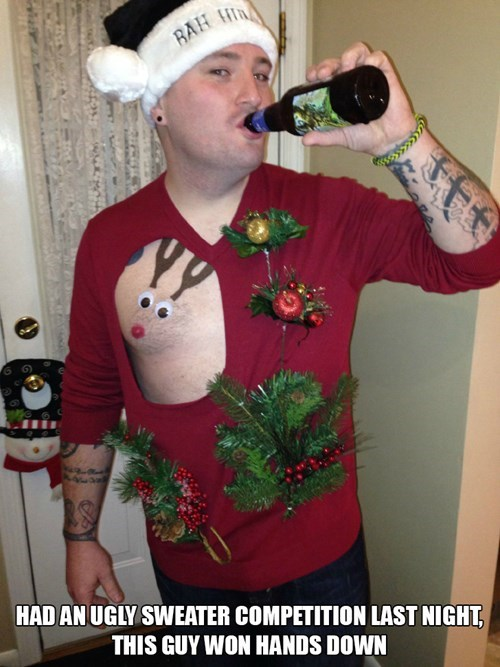 christmas,ugly sweater,sweater,poorly dressed