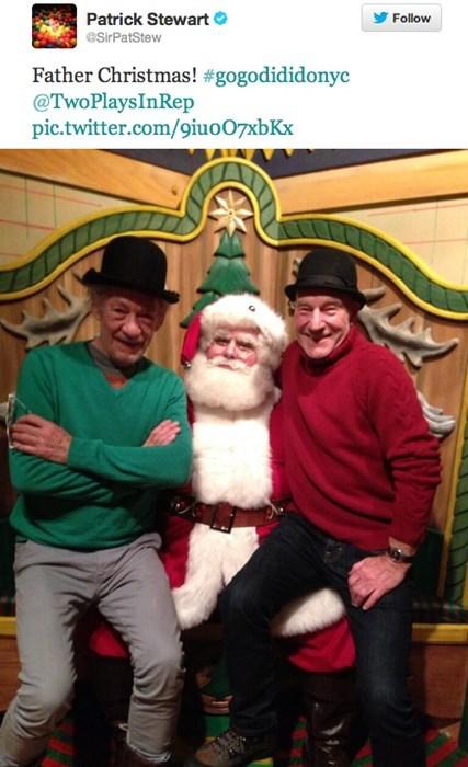 christmas,ian mckellen,patrick stewart,celebrity twitter