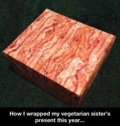 bacon,christmas,presents