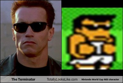 The Terminator Totally Looks Like Nintendo World Cup NES character