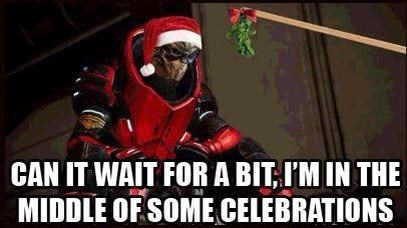 Garrus Never Has Time for the Mistletoe Kiss