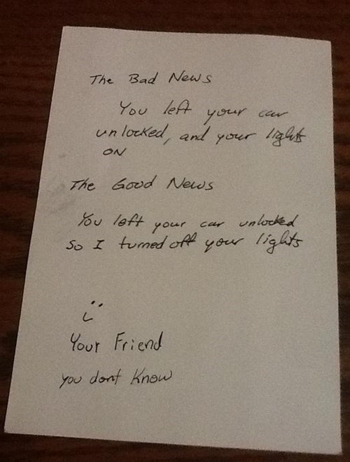 random act of kindness,note,pay it forward