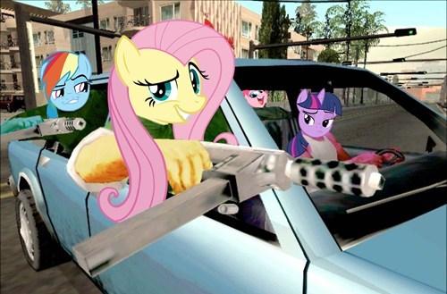 Grand Theft Auto,MLP,fluttershy,rainbow dash
