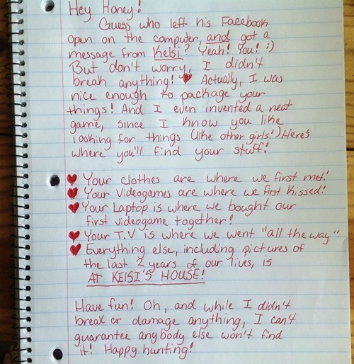 This Breakup Letter Sending an Unfaithful Boyfriend on a Scavenger Hunt is Both Funny and Chilling