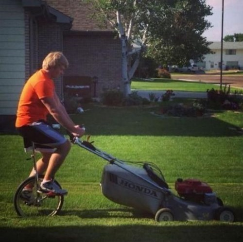 lawn mowers,unicycles,there I fixed it