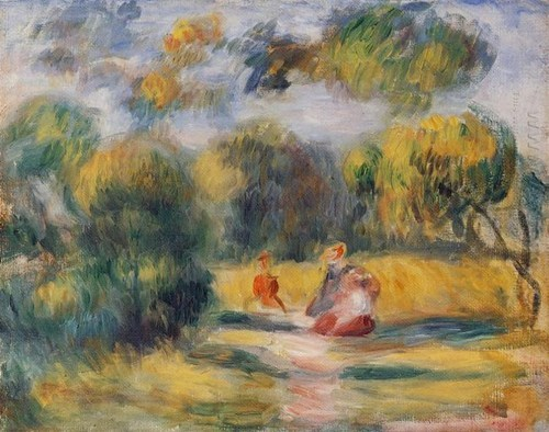 Figuren In Een Landschap 1900 door Pierre Auguste Renoir