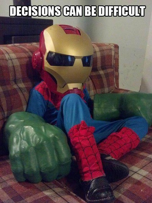 costume,kids,iron man,superheroes,indecision,parenting,Spider-Man,the hulk,g rated