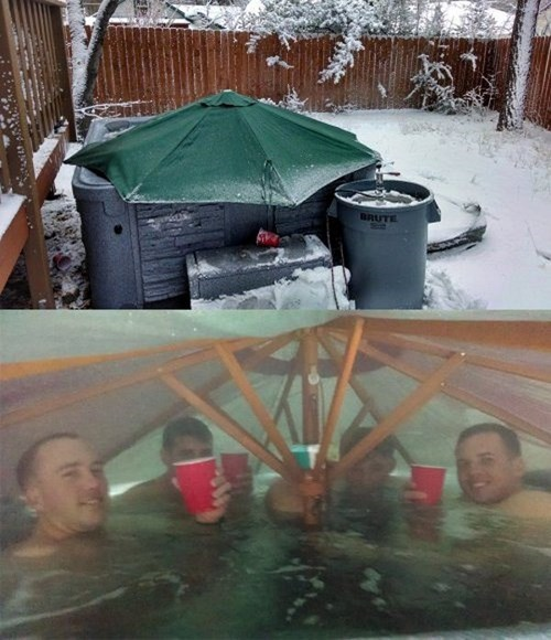 hot tubs,umbrellas,there I fixed it,winter